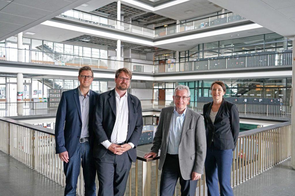 """Mitglieder der Forschungsgruppe """"Responsible AI"""": Prof. Dr. Oliver Müller, Dr. Philipp Kellmeyer, Prof. Dr. Wolfram Burgard, Prof. Dr. Silja Vöneky"""